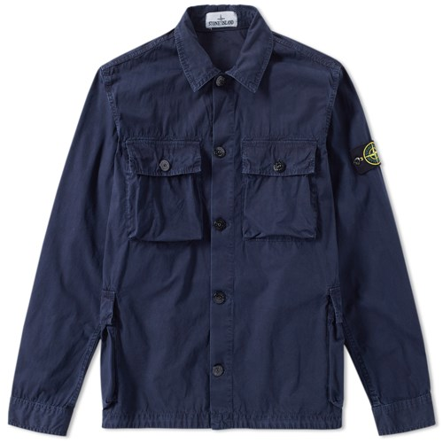 Garment Dyed Four Pocket Shirt Jacket Blue