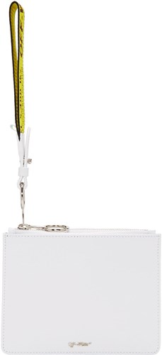 Flat Zip Off Double Diagonal Pouch White PqnP1OYx