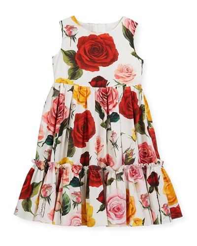 Sleeveless Dolce Dress Rose Multi amp; Tiered Gabbana FwfwqC