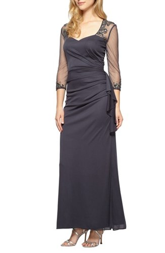 Alex Evenings Embellished A Line Gown Charcoal aaZCv