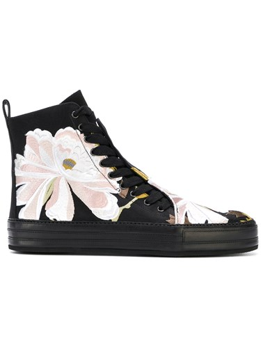 Ann Demeulemeester Floral Embroidered Hi Top Sneakers Black 7megORW