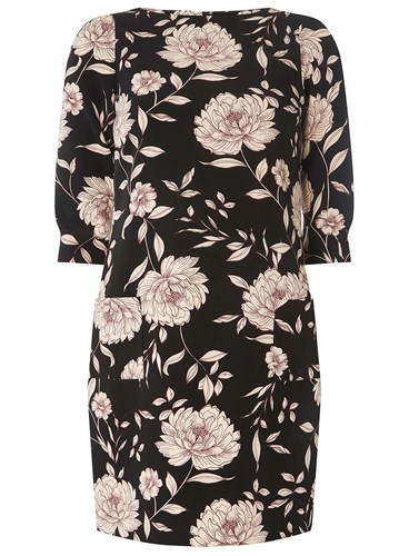 Perkins Print Shift Black Dorothy Dress Floral 7TdUwFFqa
