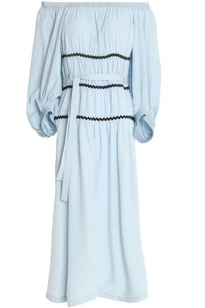 Off Sonia Sky Chambray Rykiel Dress The Blue Belted Shoulder 55wBxArz