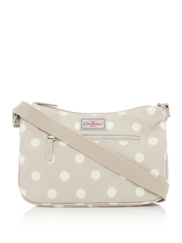 Cath Kidston Button Spot Curve Cross Body Taupe eFLGQPbR0B
