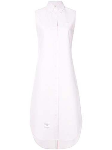 Thom Browne Sleeveless Oxford Shirtdress Pink And Purple kxhoW4v