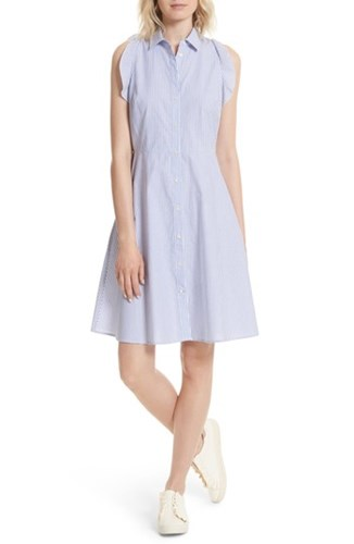 Poplin Kate Rich Spade York White Stripe Fresh Lapis Shirtdress Ruffled New wqXHrqU