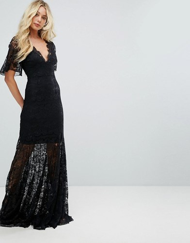 Black Dress Lace Front Frock Maxi Plunge Body Fishtail Bodyfrock wpSq00v8