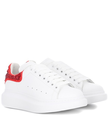Alexander Leather White Embellished Sneakers McQueen rEWaqPnr