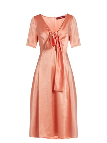 Sies Marjan Tie Front V Neck Satin Dress Pink 1uMXM8BIpl