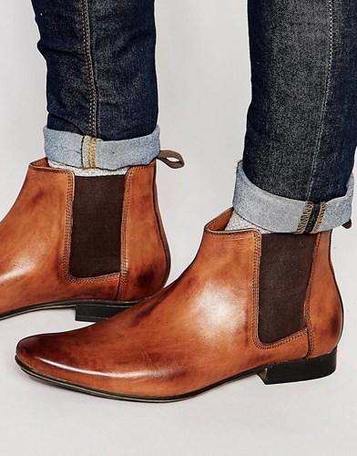 Frank Wright Chelsea Boots In Tan Leather Tan ISO1Jj