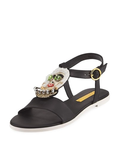 Fargo Rupert La Sanderson Sandal Black Beaded Leather FPEqwP