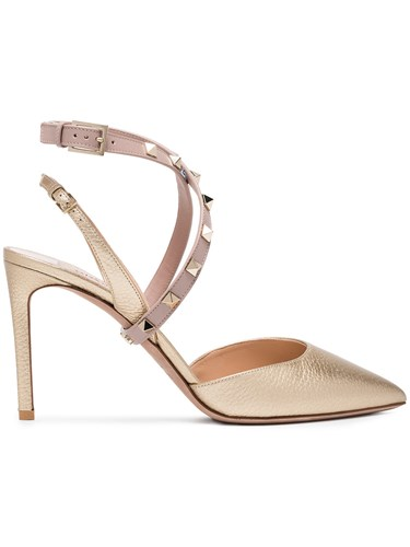 Valentino Metallic Studwrap 90 Leather Slingbacks n70N1p90z