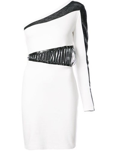 Spandex Asymmetric Dress Elastane White Just Cavalli Viscose Block Colour Polyamide vFqRn0U