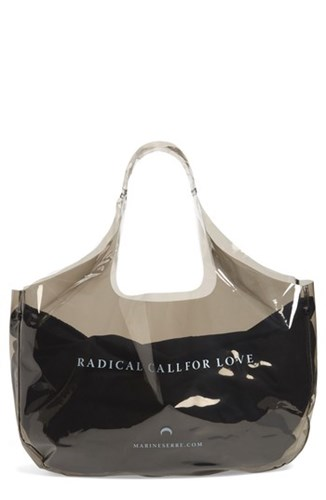 MARINE SERRE Radical Call For Love Transparent Shopping Bag Black jQBA9