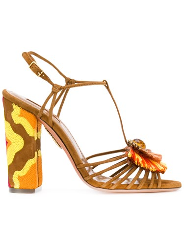 37 Aquazzura Brown Sandals Women Floral Leather qgI7gw