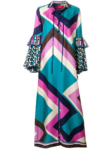 F.R.S For Restless Sleepers Geometric Chevron Maxi Dress Multicolour rjAWFkG8hz