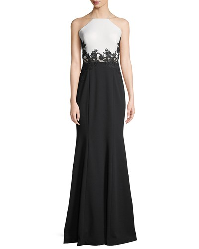 Aidan Lace W Mattox Scuba Applique Crepe Colorblock Black Gown White rvSwrTxq