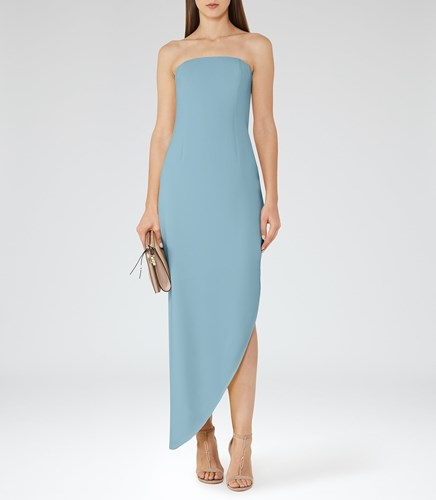 Reiss Rima Womens Strapless Asymmetric Maxi Dress In Blue NUUDwYqRJr