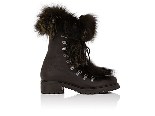 Brown Fur Barneys Boots Ankle Leather Dark New Trimmed York Women's qxtxzPFw7H