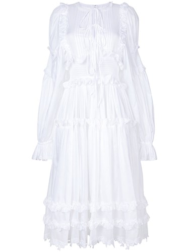 Ruffle Trim Dolce Nylon amp; White Dress Gabbana Cotton qzw4wpE