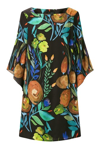 James Lakeland Floral Print Flute Sleeve Dress Black 1Wanp
