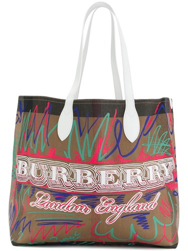 Reversible Doodle Brown Print Burberry Tote 5wpAqxqdY