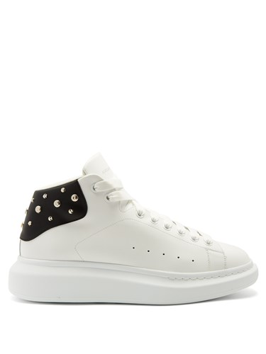 Raised Top Trainers Embellished Sole Leather McQueen Black White Alexander High 6Bxnpafq5