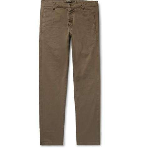 Slim Fit Tapered Garment Dyed Cotton Blend Twill Trousers Mushroom