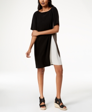 Black Silk And Regular Eileen Petite Dress Fisher Colorblocked TwqCzxFZ