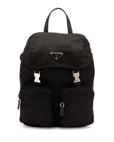 Prada Vela Backpack Front Black Large Nero Zip xFqwB164