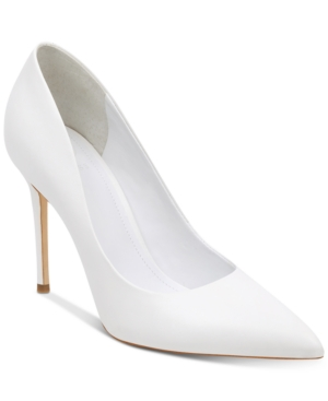 GUESS Women's Braylea Pointy Toe Pumps Women's Shoes White Leather FPXbiiE