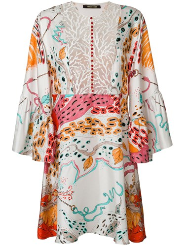 Silk Mini Roberto Dress Multicolour Cavalli Polyester And Cotton Polyamide Printed Front Embroidered SwCf4UxqCT