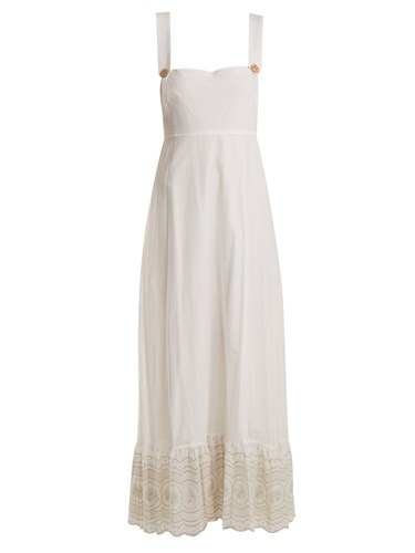 Sunday Morning Pinafore Embroidered Cotton Dress Ivory