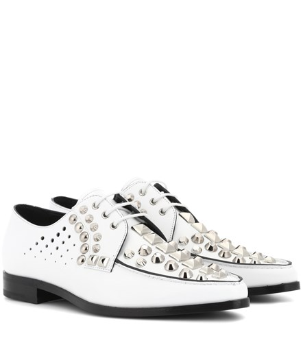Studded Leather Derby Shoes White