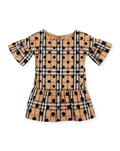Burberry Anabella Check And Polka Dot Dress Size 4 14 Navy fy9j7qgHD