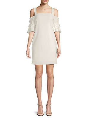 DEMAND Susie White Shift Shoulder Cold Dress amp; SUPPLY RqxA44