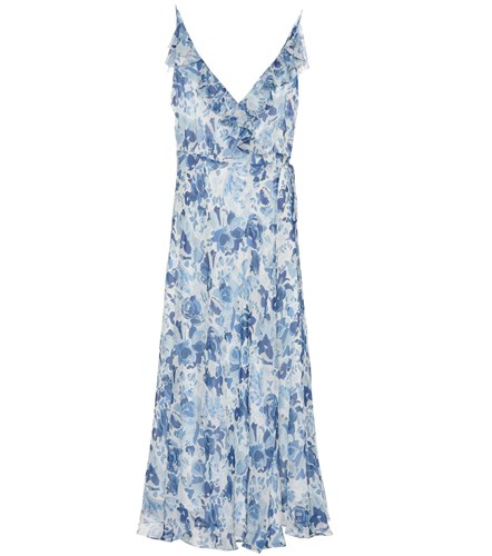 Lauren Dress Printed Midi Floral Polo Ralph Silk Blue Tqzxg46n5