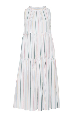 Tie Stripe Long Mixed Neck Dress Asceno qfZxgw1Fx