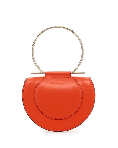 Salvatore Ferragamo Daphne Medium Leather Gancio Handle Shoulder Bag Coral 0NoyAYMN