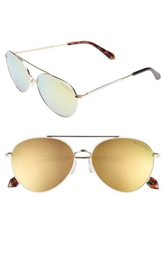 Isabelle 56Mm Polarized Metal Aviator Sunglasses Gold Gold Gold Gold