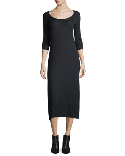 ATM Anthony Thomas Melillo Scoop Neck Long Sleeve Fitted Stretch Knit Midi Dress Black BuUv8Wbs