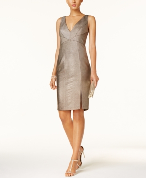 Adrianna Papell Metallic Ottoman Stitch Sheath Dress Rose Gold ZDmzIH