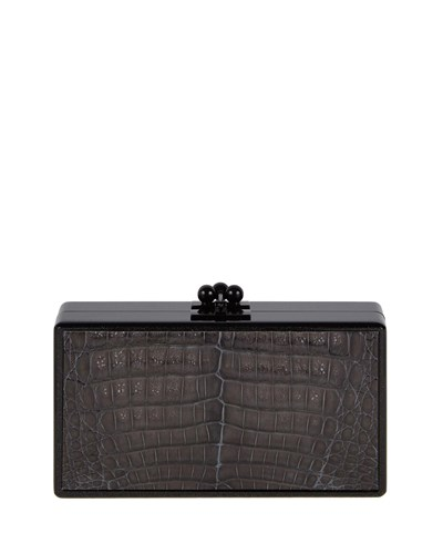 Edie Parker Jean Paneled Crocodile Clutch Bag Obsidian Black Obsidian Black PlT6OwY4