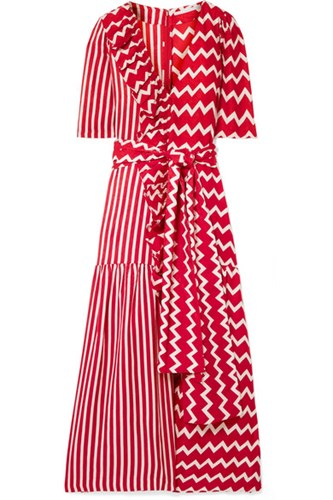 Maxi Ruffle Trimmed Stella Red Silk Dress Printed Moire McCartney PaBxwBg
