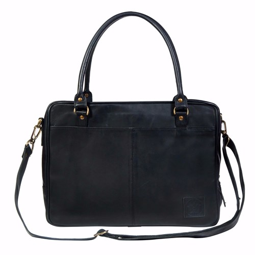 MAHI Leather Oxford Zip Up Satchel Briefcase Bag With 15 Laptop Capacity In Black UKzPrJlLhc