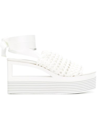 Casadei Woven Wedge Sandals White SLeJ7hJ