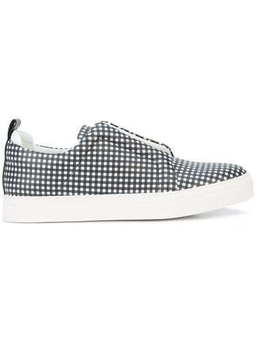 Hardy Pierre White Checked Sneakers Slider 6F14d1q