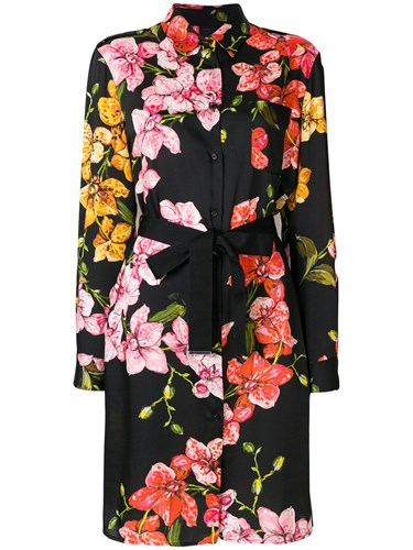 Pinko Black Shirt Dress Print Floral zxrzFOCq