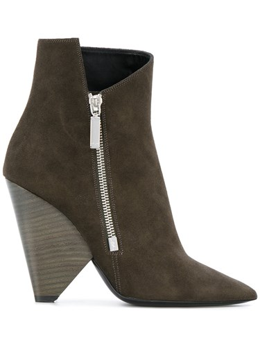 Boots Suede Laurent Saint 85 Leather Green Asymmetric Niki UqOTWazxw8