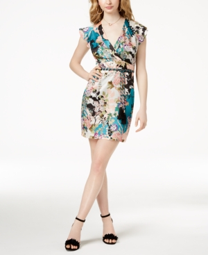 GUESS Floral Print Surplice Dress Ginza Garden Turquoise Sea tNMtM